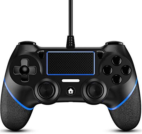 Hafei Controlador PS4 com fio para Playstation 4, gamepad profissional com fio PS4 USB (preto