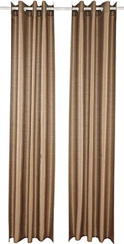 Meradiso® Vorhangschal-Set, 2-teilig, in edler Wildseiden-Optik (braun mit Ösen, ca. B 135 x L 245 cm)
