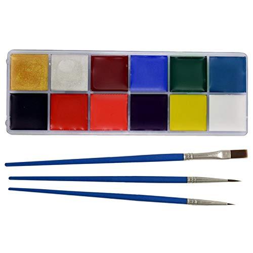 Peinture Corps, Beetest Kit de peinture de visage de 12 couleurs avec le pinceau pour des adultes d'enfants