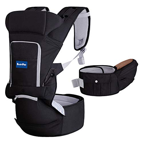BabyPro 360 Ergonomic Baby Carrier with Hip Seat , 6 in 1 Baby Carrier with Waist Stool, One Size Fits All , Adjustable to Newborns Infants Toddlers, Hands Free Baby Wrap Front Backpack (Black)