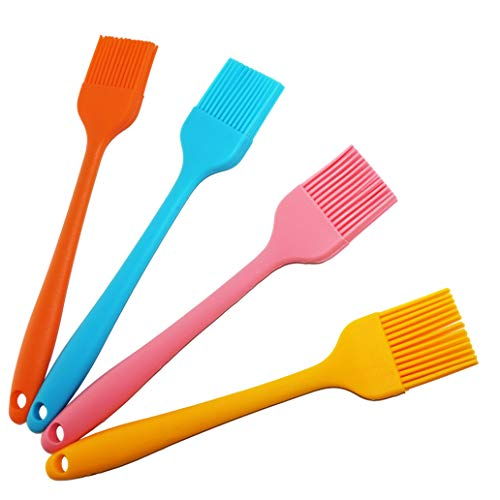 Silicone Pennelli da Cucina Multiuso, 21cm(Set da 4, Colorato) Resistenti al Calore, Flessibili,...