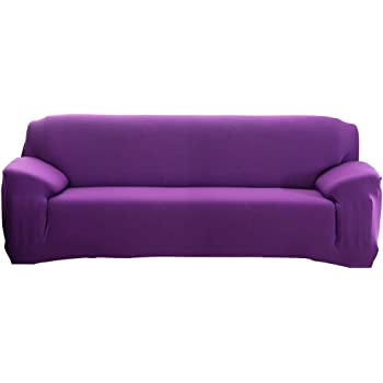 Sofa Cover Elastic Dustproof Wrinkle Resistance Slipcover Sofa Cover//Two//Three//Four Seats Purple 1 Seater :90-140cm