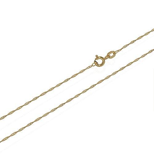 NKlaus Singapur Kette 585er Gold Kette gedreht 3727, 50 cm lang, 0,95 gr. 1 mm Breit