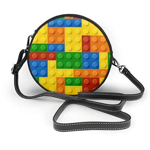 Ameok-Design Schwarzes Licht Baustein Spielzeug Zelluloid Schultertasche Crossbody Handtasche Multifunktions PU Leder für Shopping, Reisen rund
