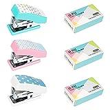 Portatile Mini Cucitrice, XiYee 3 Pcs Piccolo Mano Spillatrice Casa Ufficio Cucitrice con 3 × 640 Graffette, Moda Cucitrici Cancelleria, Regali per bambini (3 colore)
