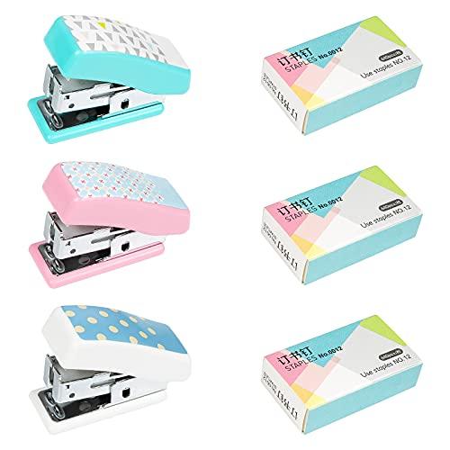 XiYee Mini Heftgerät, 3 Stück Desktop Hefter mit 3 × 640 Ersetzen Heftklammern Heften, Tragbar Manuelle Hefter Büro Heftgerät zum Zuhause Büro Schule Kinder( 3 Farbe )
