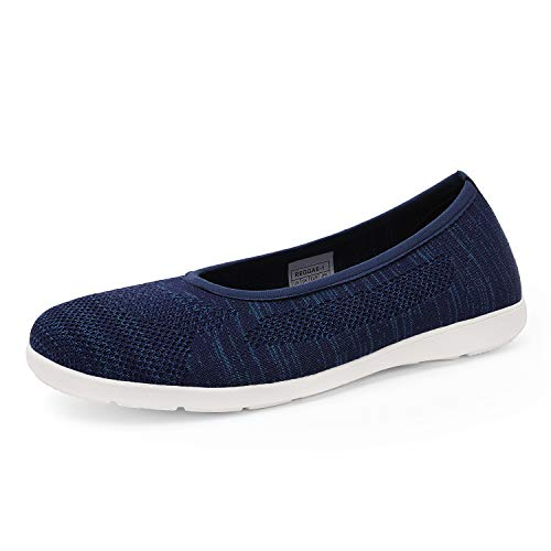 DREAM PAIRS Women's Slip On Flat Navy Walking Shoes Comfortable Lightweight Breathable Mesh Knit Walking Shoes for Women Size 6 M US Reggae-1