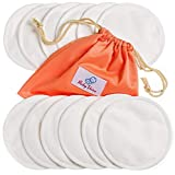 Nursing Pads 12 Pack | Organic Bamboo | Laundry & Travel Bag | Washable & Reusable Breast Pads for Breastfeeding by BabyVoice (Medium, White)