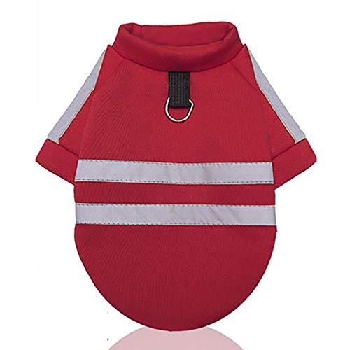 H87yC4ra Suéter reflectante para perro, sin tapa, con cuerda de tracción, cálido, para invierno, ropa para cachorros, 2XL, color rojo vino