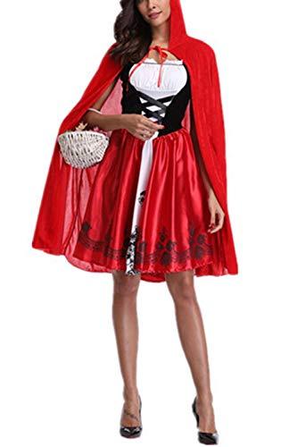Zojuyozio Vestido De Fiesta Disfraz Cosplay Caperucita Roja De Halloween para Mujer Rojo L