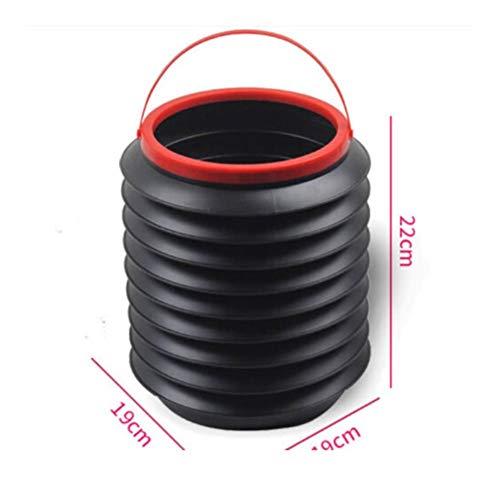 Whzjxb-zyp Große Outdoor-Camping-Falteimer Waschen Tragbare zusammenklappbaren Wassereimer (Farbe : Schwarz)