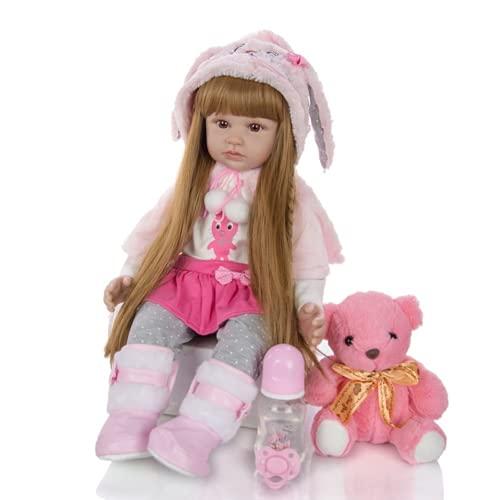 24 Pouces 60 cm Reborn Poupée Bébé Silicone Vinyle Reborn Fille Fait Main Réaliste Simulation Baby Dolls Magnétique Bouche Poupées Nouveau-Né Cadeau d'anniversaire Jouets (H1008)