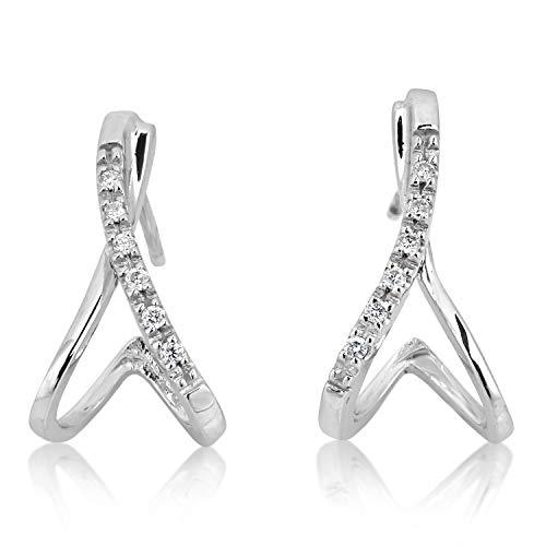 Mille Amori - Orecchini da donna in oro bianco 375/1000, 9 carati, con diamanti da 0,10 carati, collezione Florence