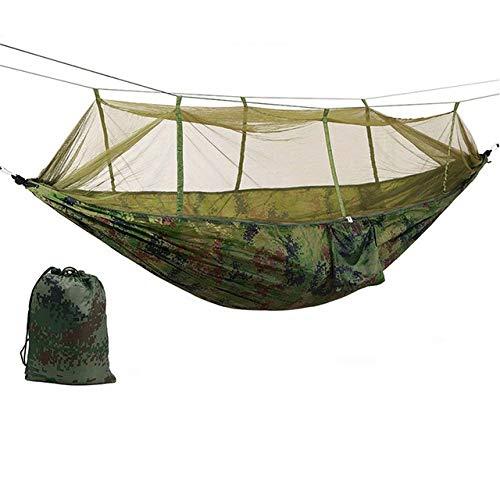 FENGSZ Hamaca portátil para Acampar al Aire Libre con mosquitera, Material de Nylon, 260 * 140 cm, Capacidad de Carga de hasta 440 Libras, Camuflaje