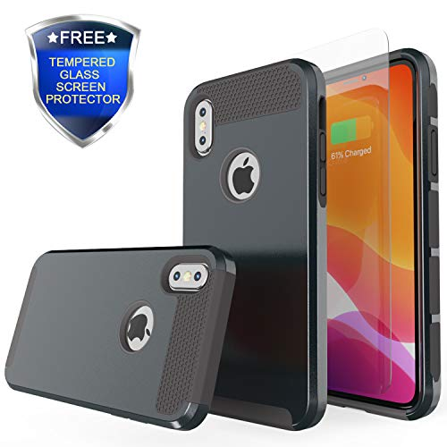 Rhidon for iPhone Xs Case,Slim Hybrid Hard PC Shell Flexible Shockproof TPU Bumper Anti-Scratch Non-Slip Texture Protective Cover for iPhone Xs 5.8