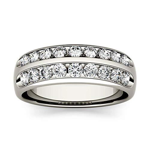 Charles & Colvard Forever One anillo de aniversario de boda - Oro blanco 14K - Moissanita de 2.2 mm de talla redonda, 0.72 ct. DEW, talla 12