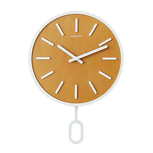 Reloj de Pared con Péndulo Dormitorio Reloj de Aguja Silencioso Sala de Estar Relojes Redondos de 14 Pulgadas para decoración de Oficina En Casa Reloj-Amarillo_Los 40 * 40 * 10Cm