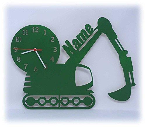 Spezial Wand Motiv Holz Uhr Bagger individuell mit Namen personalisiert Kinderzimmer Geschenk zum Geburtstag für Junge Jungs
