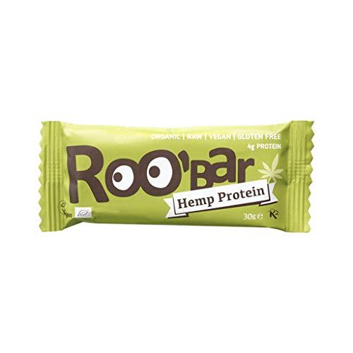Roo'bar - Barrita energética de proteína de cáñamo   Orgánica y vegana   1 unidad   30g