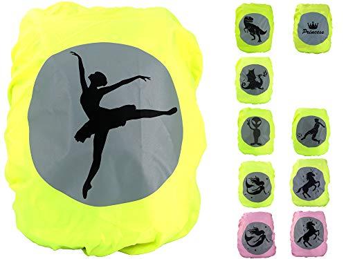 EANAGO Premium Schulranzen/Rucksack Regenschutz/Regenüberzug, ohne Nähte, 100% wasserdicht, mit Sicherheits-Reflektionsbild Ballerina