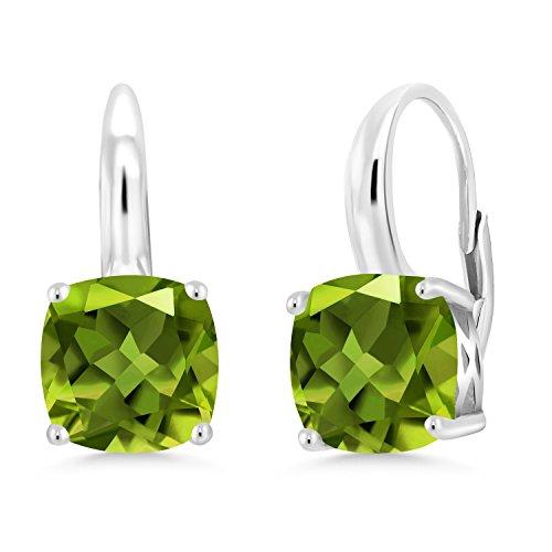 Gem Stone King 925 Sterling Silver Green Peridot Earrings For Women (4.90 Ct Gemstone Birthstone Cushion 8MM)