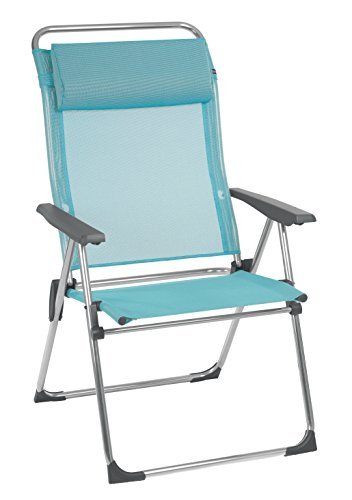 Lafuma Alu Cham XL Folding Armchair (Ocean Blue, Set of 2) Foldable Deck and Patio Chairs w/ Aluminum Frames