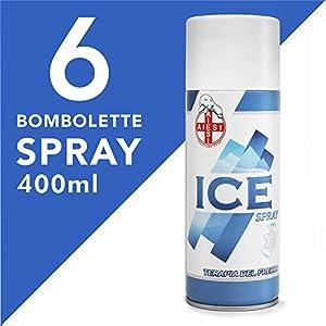 AIESI® Hielo Spray instantáneo con MENTOL lata de 400 ml ICE SPRAY (Paquete de 6 piezas) # Made in Italy