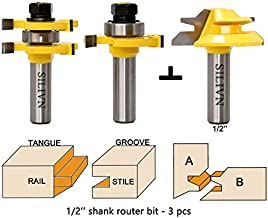 SILIVN Tongue and Groove Router Bit Tool Set 1/2 Inch Shank+45°Lock Miter Bit 1/2 Inch Shank for Professional & Beginner Carpenters - Woodworking Tools for Home Improvement and DIY