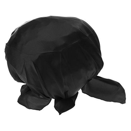Tapa de Bonete Gorro Negro Puro Seda Cabeza para Dormir Noche Hogar Manualidades y Estilos de Vida