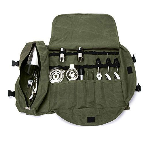 Kit da barman con borsa arrotolabile, borsa per attrezzi da lavoro, organizer per utensili da bar, in tela cerata resistente. Verde militare.