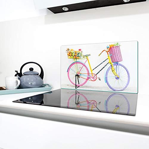 QTA - Copri piano cottura 90 x 52 cm copertura per piano cottura in vetroceramica 1 pezzo universale a induzione per piastre di cottura paraspruzzi tagliere in vetro temprato come decorazione Blanco