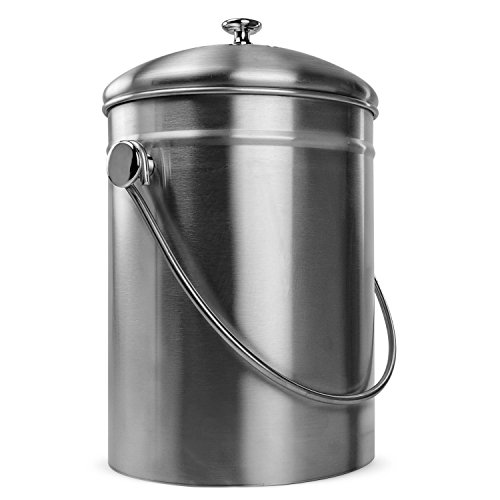 Lowest Price! Innovative Home Stainless Steel Compost Bin Can with Double Filtered Lid, 1.3 Gallon