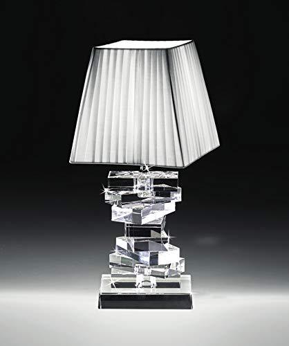 Abat jour lampada lumetto da comodino in cristallo trasparente paralume bianco per camera da letto contemporanea