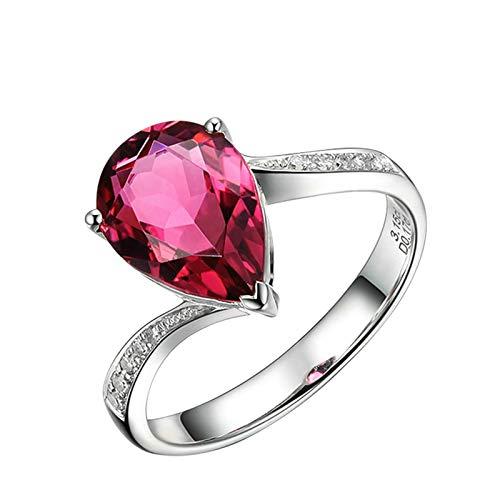 Dreamdge Woman Engagement Rings 18K White Gold Teardrop Ring, Pear Red Tourmaline Diamond Ring 1.62ct Size I½