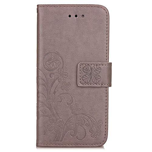 JEEXIA® Funda para ZTE Blade A610 Plus, Moda Flip Wallet Case Cover PU Cuero con Soporte Cubierta Protectora Trébol de Cuatro Hojas (Gris)