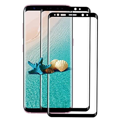 [2 Unidades] Protector de Pantalla de Cristal Templado para Samsung Galaxy S8, 3D Completo, Antiarañazos, Sin Burbujas, Dureza 9H, Cristal Protector de Pantalla para Samsung S8 (Negro)