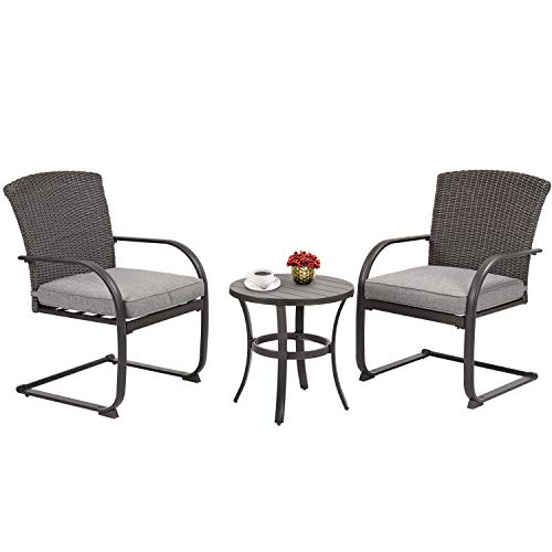 Grand patio 3 Piece Wicker Outdoor Spring Motion Bistro Set Cushioned Chairs and Round Table Furniture Seat Brown