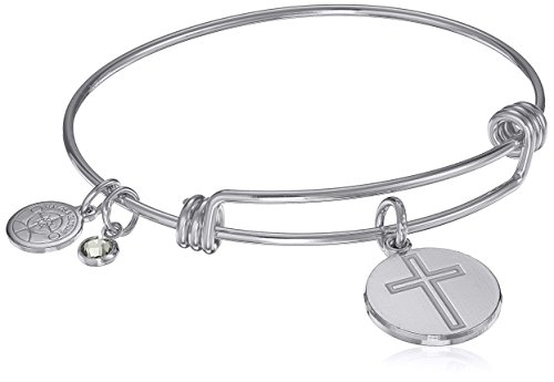 Halos & Glories, Cross Shiny Silver Bangle Bracelet