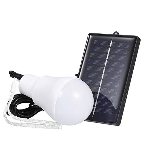 Adaskala Luz Solar Exterior, Luz LED con energía solar B-ulb Lámpara portátil de trabajo nocturno H-anging Luces recargables para el hogar Senderismo Tienda de campaña Lectura Camping