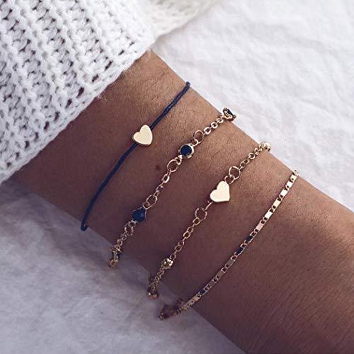 Handcess Conjunto de pulseras de corazón bohemio, color dorado, negro, turquesa, pulsera tejida, cadena trenzada, accesorios de mano para mujeres y niñas (4 piezas)