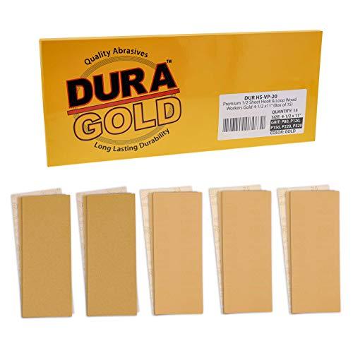 Dura-Gold Premium Sandpaper 1 2 Sheet Variety Pack Box - 80, 120, 150, 220 & 320 Grit (3 Sheets Each, 15 Total) - Wood Workers Gold, 4-1 2  x 11  Size, Hook & Loop Backing - Hand Sand Sander Sanding