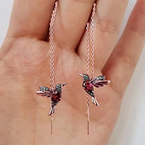 SONGK Pendientes Colgantes de Cristal con Colgante de aro Redondo de pájaro Exquisito y Elegante Pendientes llenos de Oro para joyería de Boda de Mujer
