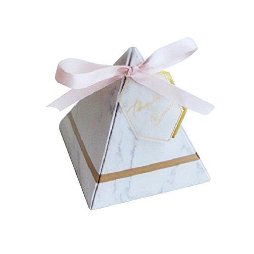 LZDseller01 100Pcs Kasten-Süßigkeit-Kasten, Festlichkeit-Kästen, dreieckige Art-Hochzeits-Süßigkeit-Kasten, Partei-Versorgungsmaterial-Papiergeschenk-Kästen mit Danke zu kardieren und Band