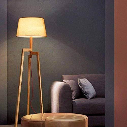 Triangle Massivholz-Fußboden-Lampe, modernes Wohnzimmer Bürostehleuchte Kreative Sofa Nacht Wohnzimmer Study Stufenschalter Einfache Holzstehlampe E27 KaiKai
