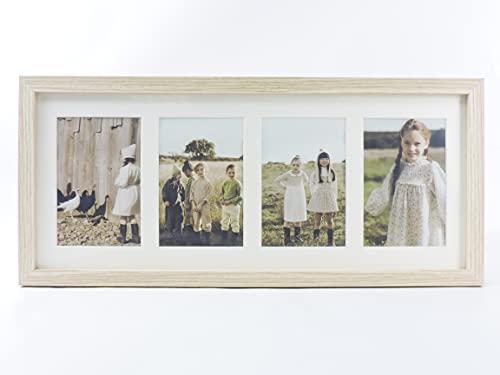 Marco foto múltiple con paspartú para collage de fotos 10x15 para mesa o pared (4 FOTOS, MADERA)