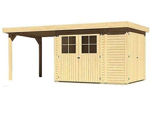 Unbekannt Karibu Woodfeeling Gartenhaus Laura 2 natur 19 mm mit Anbauschrank und Anbaudach 2,25 Meter