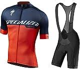 Men's Cycling Suit Self-Locking Zipper Moisture Wicking Outdoor Breathable MTB Bike Short Sleeve Riding Bib Shorts