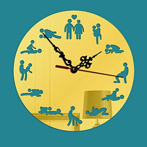 DENG&JQ Créatif Fashion Pendule Murale,Rond Bricolage Salon Chambre Miroir Acrylique Clair pour Lire Montre à Chiffres Romains Rotation de 360 degrés-B 8inch