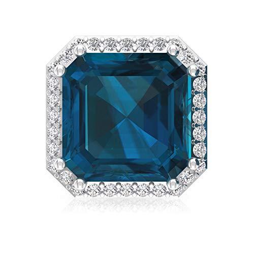 4,2 ct azul topacio London Pendiente, forma de Asscher Pendiente declaración, IGI certificado de diamante, HI-SI, pendientes de novia de diamante 14K Oro rosa, Única pieza