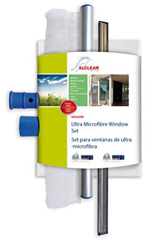 ALCLEAR 960008 Pro raamset met microvezel raamreiniger en raamwisser 35 cm, microvezelreiniger raamdoek, 3-delige ruiten & ruitenwisserset